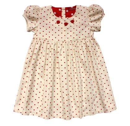Campana Girls Printed Corduroy Dress - Heart Print