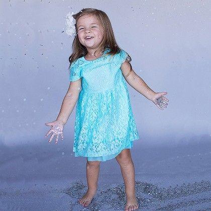 Blue Floral Net Dress - Little Dress Up