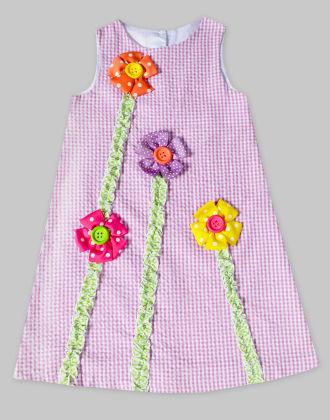 Purple A-line Check Dress With 3-d Flower - Freda & Pixie