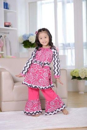 Chevron Print Tunic And Pant Set- Pink & Black - Cutie Baby Boutique