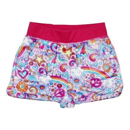 Peace Love Print Short-red - Candy Pink