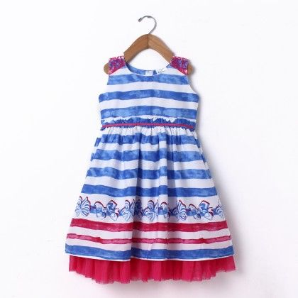 Dress Sleeve Less Stripe Border Print - Blue - Doodle