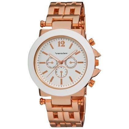 Vernier Women's Rose-tone Faux Crono Patterned Link Bracelet Enamel White Bezel Quartz Watch - Vernier Watches