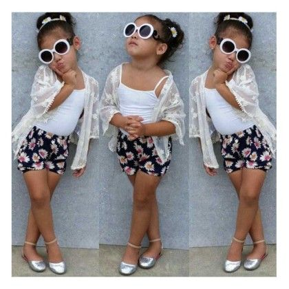White Jacket Style Top And Floral Print Shorts- Set - Little Fashionista