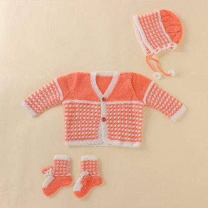 Light Orange And White Set - Knitting Nani