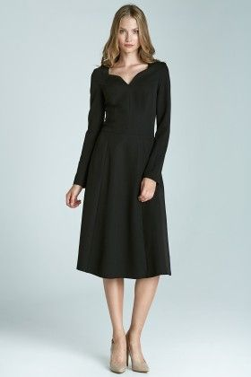 A Classic Dress With Long Sleeves S66 - Black - Nife