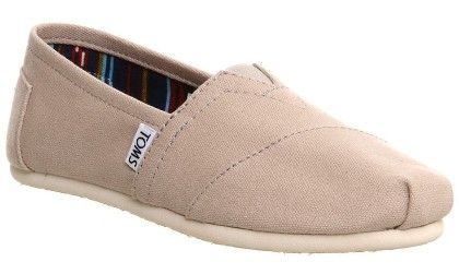 Classic Light Grey White Womens Canvas Espadrille Shoes Slipons - Toms