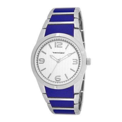 Vernier Women's Boyfriend Sized Silver-tone And Blue Silicone Bracelet Watch - Vernier Watches