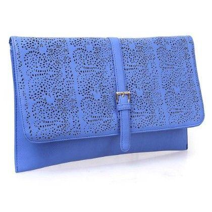 Decorative Cut Out Design Faux Leather Fashion Statement Envelope Clutch Electric Blue - B.m.c