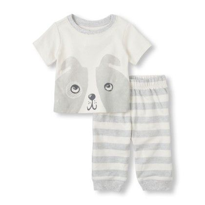 Puppy Stripes Shirt & Pants Set - Cloud - The Children's Place