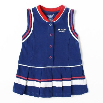 Sports Cotton Frock With Front Button - Blue - Do Re Me