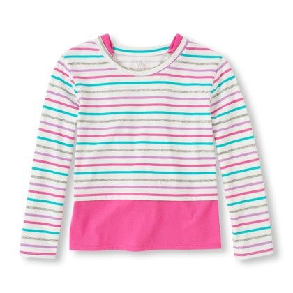 Long Sleeve Striped Faux-layered Top - The Children's Place - 143867