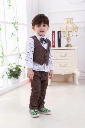 Boys Shirt And Trouser With Waist Coat- Brown - Dapper Dudes