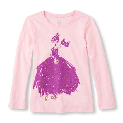 Long Sleeve Gown Girl Masquerade Graphic Tee - The Children's Place