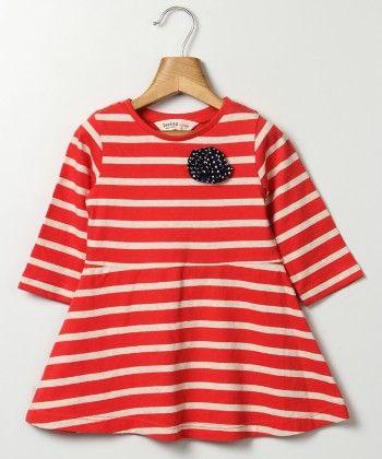 Flower Patch Striper Jersey Dress Red Stripe - Beebay