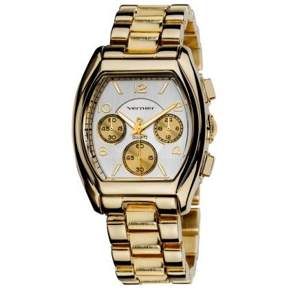 Vernier Women's Boyfriend Gold Tone Tonneau Faux-chrono Bracelet Watch - Vernier Watches