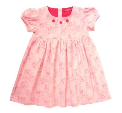 Campana Girls Printed Corduroy Dress - Bunny Print