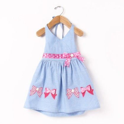 Hulter Neck Dress With Bow Applique Embroidery - Chocopie