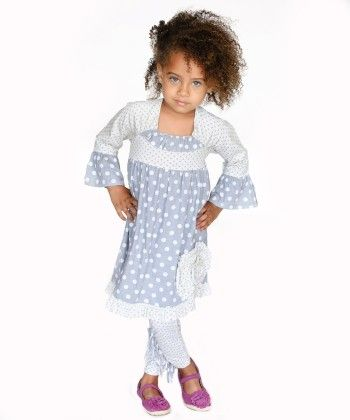 Timeless Basics Collection Grey Cream Sophia Dress And Legging Set - Jelly The Pug