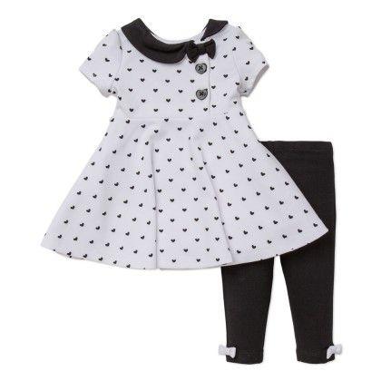 Black & White Ponte Dress And Legging Set - Little Me