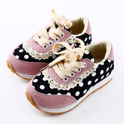 Pink Polka Dots Lace Shoes - Oh Pair