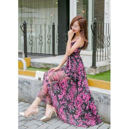 Women's Floral Print Maxi Dress- Multi Color - Glaze