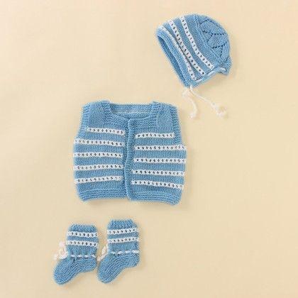 Sky Blue Set With White Stripes - Knitting Nani