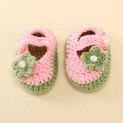 Green And Pink Mary Janes - Knitting Nani