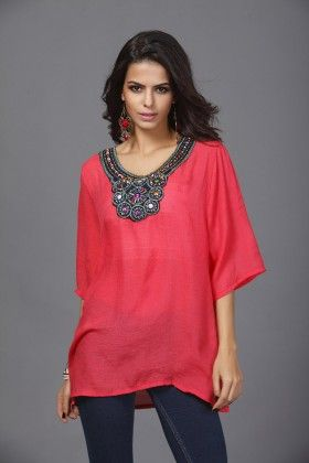Loose Fit Embroidery Tops-red - Xcel Couture