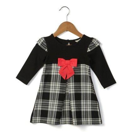 Black & White Check Dress- Black - Beebay