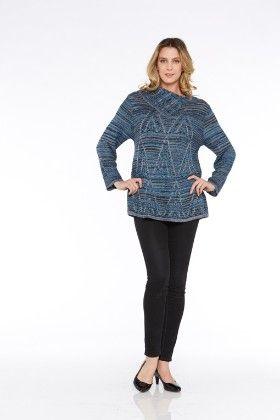Long Sleeves Sweater Knit Top-blue - Kaktus