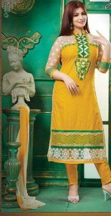 Yellow & Green-semi Stitched Suit - Fashion Fiesta