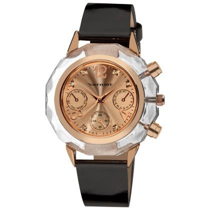 Vernier Women's Clear Bezel Rose Gold Deco-pushers With Black Patent Leather Strap Watch - Vernier Watches