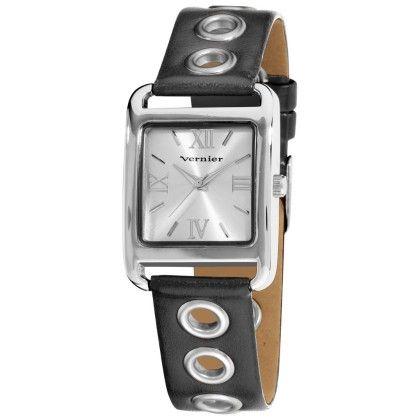 Vernier Women's Silver Rivets Black Leather Strap Quartz Watch - Vernier Watches