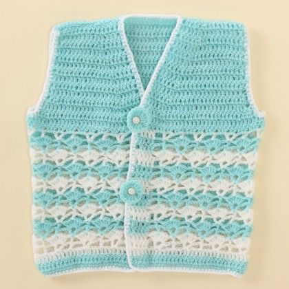Light Blue And White Vest - Knitting Nani