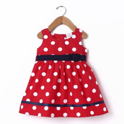 Dress Sleeve Less Red Polka - Doodle