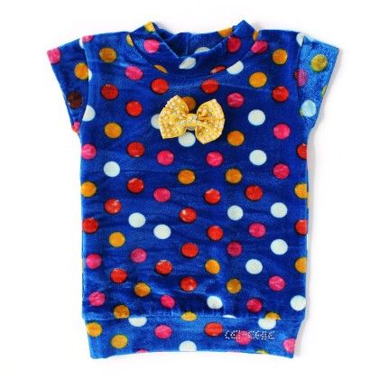 Casual Top With Multi Polka Dots & Bow - Blue - Lei-Chie