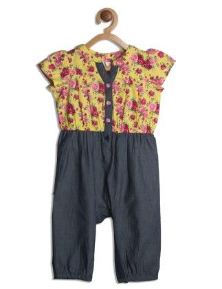 Yellow And Blue Floral Printed Denim Playsuit - My Lil'Berry