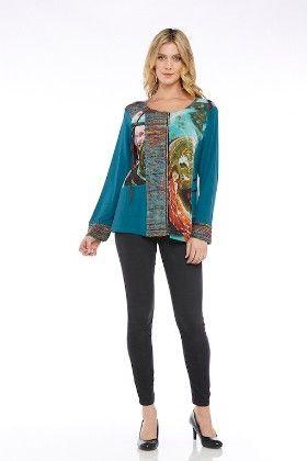Long Sleeves Knit Solid/mesh Print Zipper Front Tunic Top-teal - Kaktus