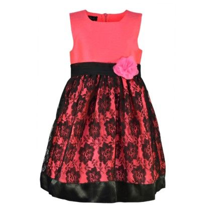 Floroscent Pink And Black Lace Dress - Peaches