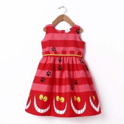 Dress Sleeve Less Stripe Border Print Red - Doodle