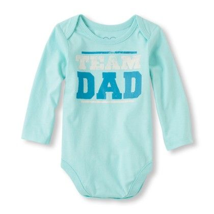 Long Sleeve 'team Dad' Little Talker Bodysuit - Mint - The Children's Place