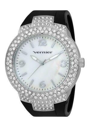 Vernier Women's Silicone Band Oversized Crystal Silver Bezel Watch - Vernier Watches