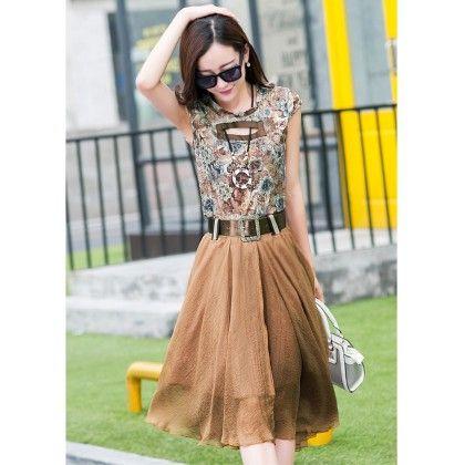 Women's Floral Print Skater Dress- Brown - Glaze