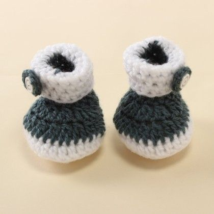 Grey & White Cuffed Booties - Knitting Nani