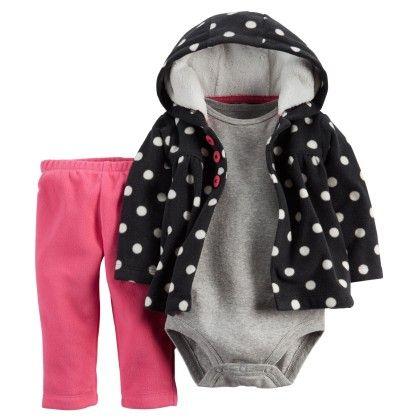 3-piece Cardigan Set - Pink And Black - Carter's