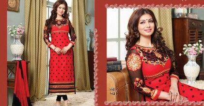 Red & Black-semi Stitched Suit - Fashion Fiesta