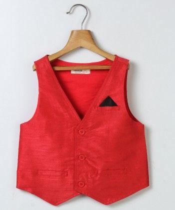 Partywear Red Waist Coat - Beebay