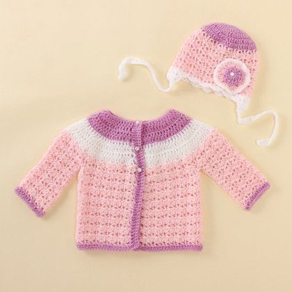 Lavender And Pink Sweater Set - Knitting Nani
