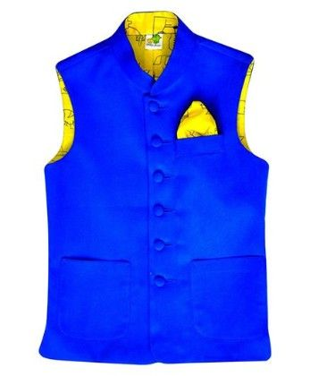 Deep Blue Suede Jacket With Lemon Yellow Printed Lining And Printed Pocket Square - Little Stars